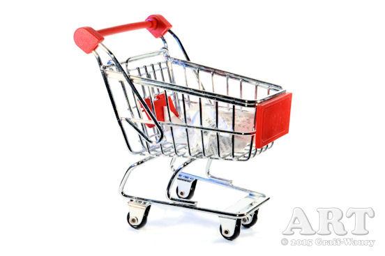 ... Einkaufswagen mit Einkaufsbeleg vom Vorgänger...