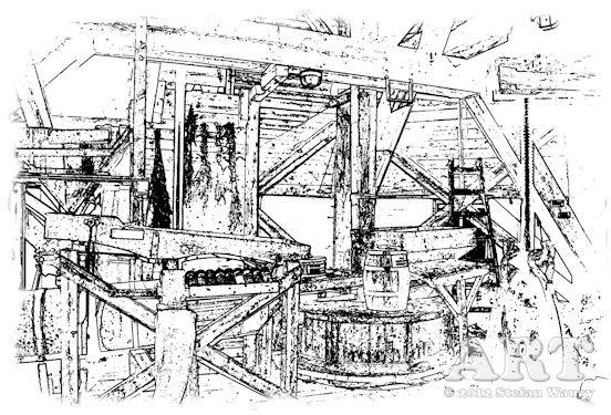 ... Grafik vom Innenraum einer Windmühle...
