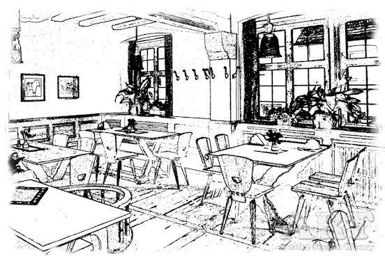 ... Grafik vom Innenraum einer Gaststätte...